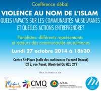 Conférence - débat «Violence au nom de l'Islam, quels impacts sur les communautés musulmanes et quelles actions entreprendre ?»