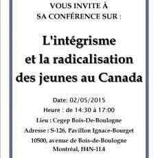 Conférence L'intégrisme et la radicalisation des jeunes au Canada