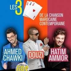 Les grandes stars de la chanson marocaine contemporaine Douzi, Hatim Ammor et Ahmed Chawki à Montréal