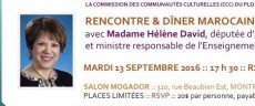 PLQ-CCC Rencontre & dîner marocain avec la ministre David